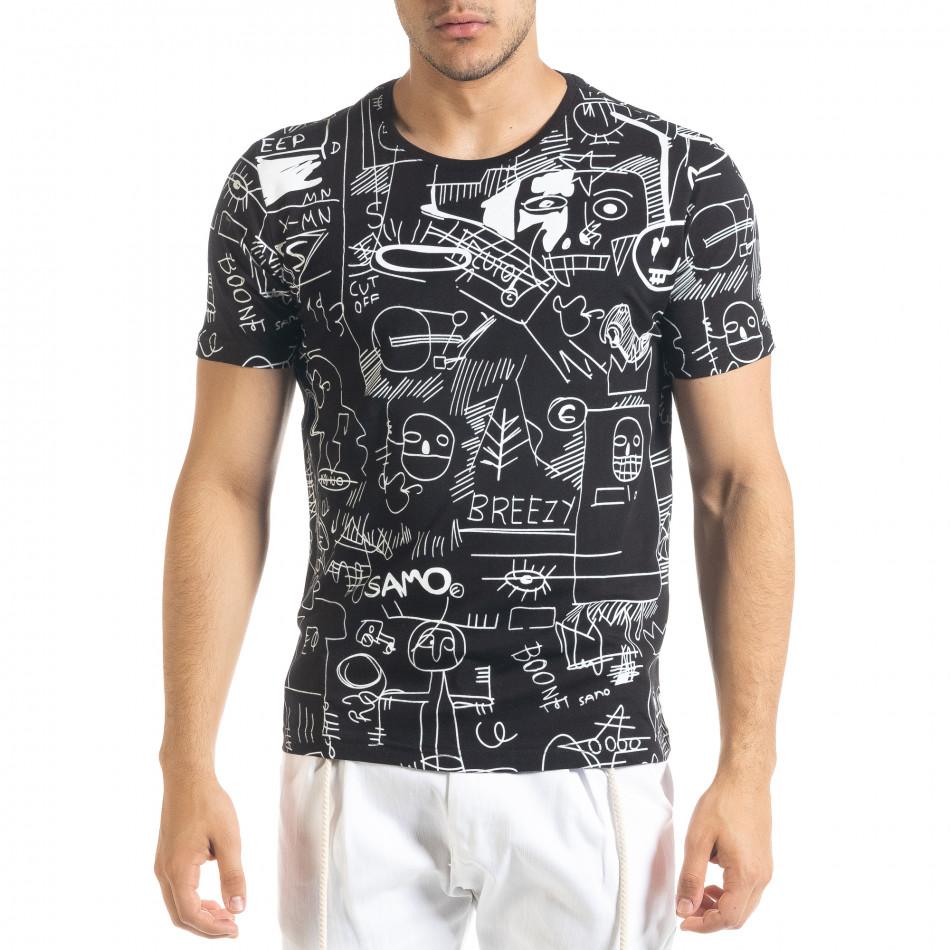 Мъжка черна тениска с принт Naivety tr080520-13