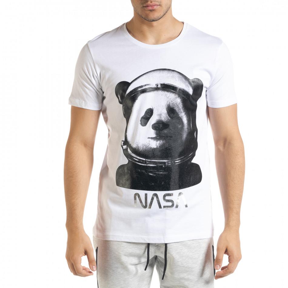 Мъжка тениска Panda NASA в бяло tr080520-23