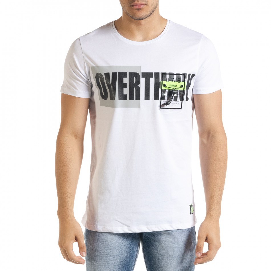 Бяла мъжка тениска с прозрачен джоб tr080520-32