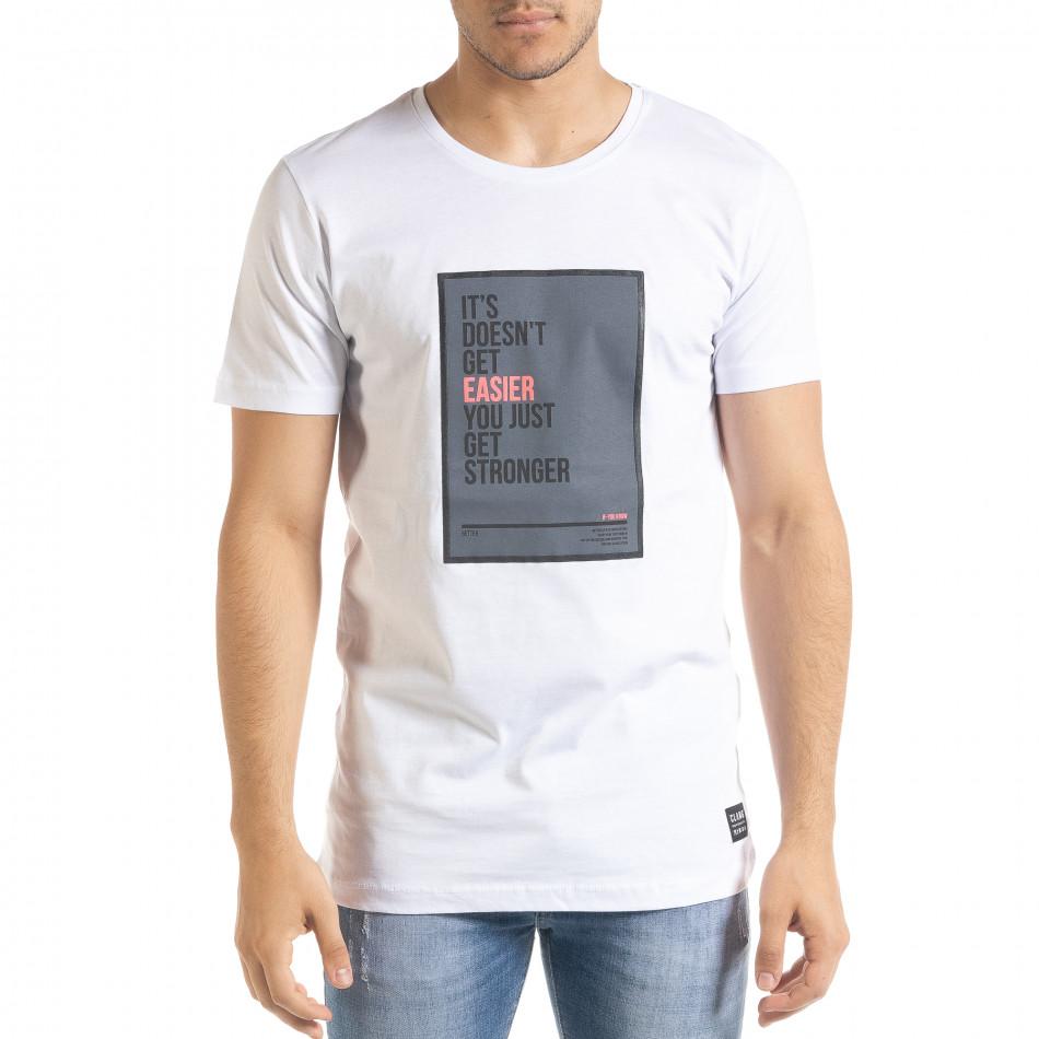 Мъжка бяла тениска с принт Easier tr080520-44