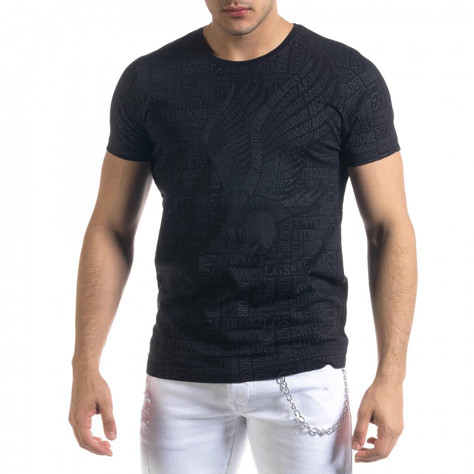 Мъжка черна тениска с принт Brooklyn tr110320-34