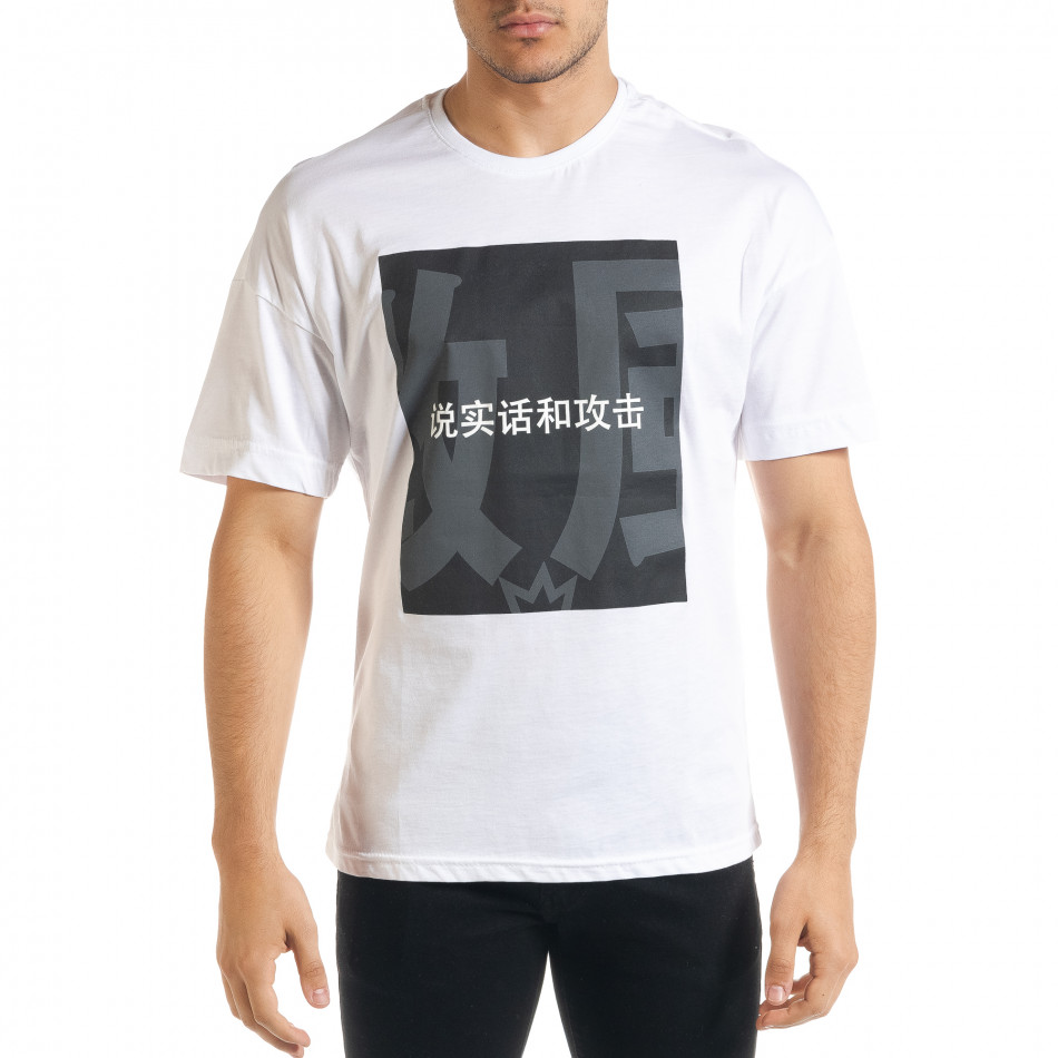 Бяла мъжка тениска с йероглифи tr080520-10