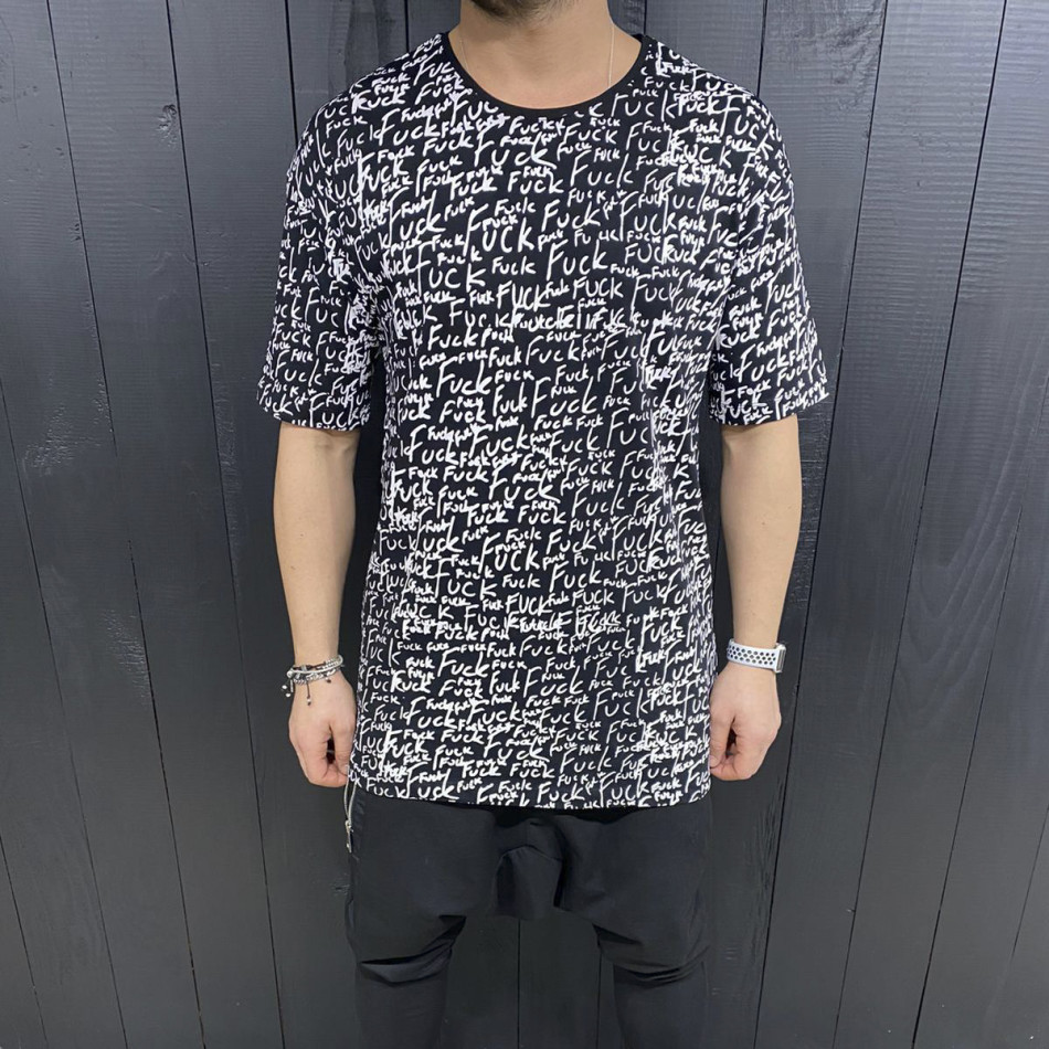 Мъжка черна тениска с принт tr110320-87