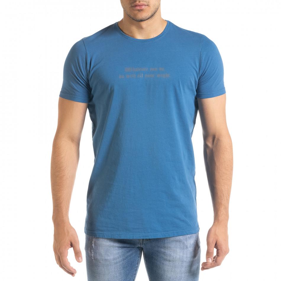 Мъжка синя тениска с принт tr080520-30