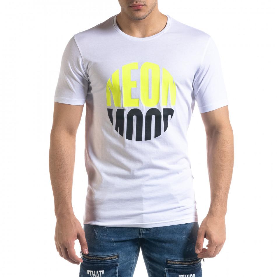 Бяла мъжка тениска неонов принт tr110320-41