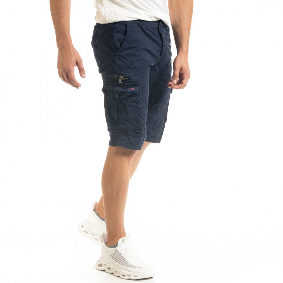 Мъжки тъмносини къси карго панталони tr140520-15