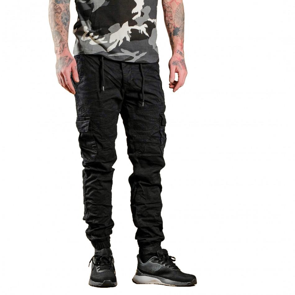 Черен мъжки Cargo Jogger в рокерски стил tr170320-2