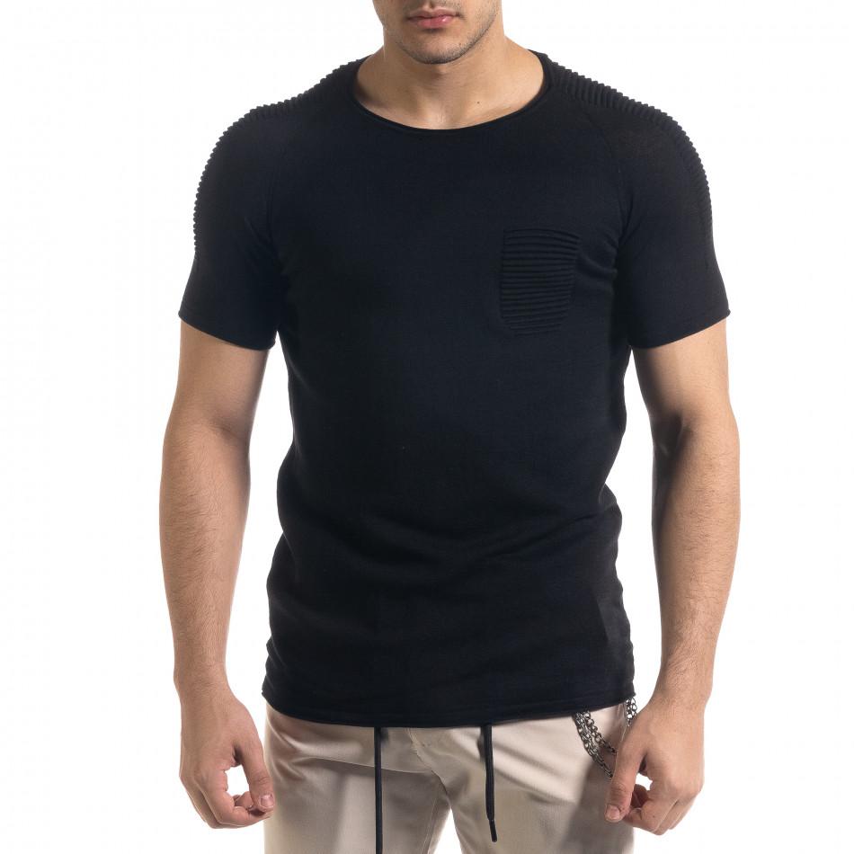 Slim fit черна мъжка плетена блуза Biker tr110320-19