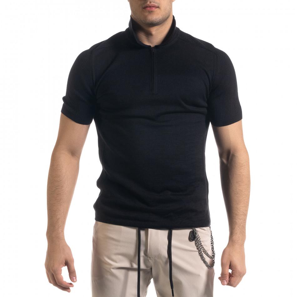 Slim fit мъжка плетена блуза в черно tr110320-57