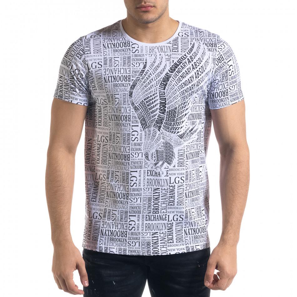 Мъжка бяла тениска с принт Brooklyn tr110320-33