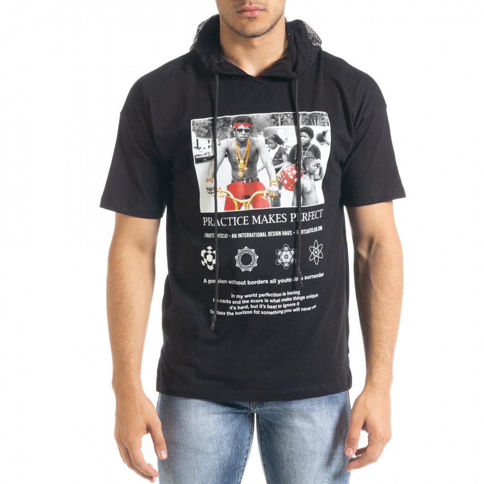 Черна мъжка тениска с принт и качулка tr080520-11