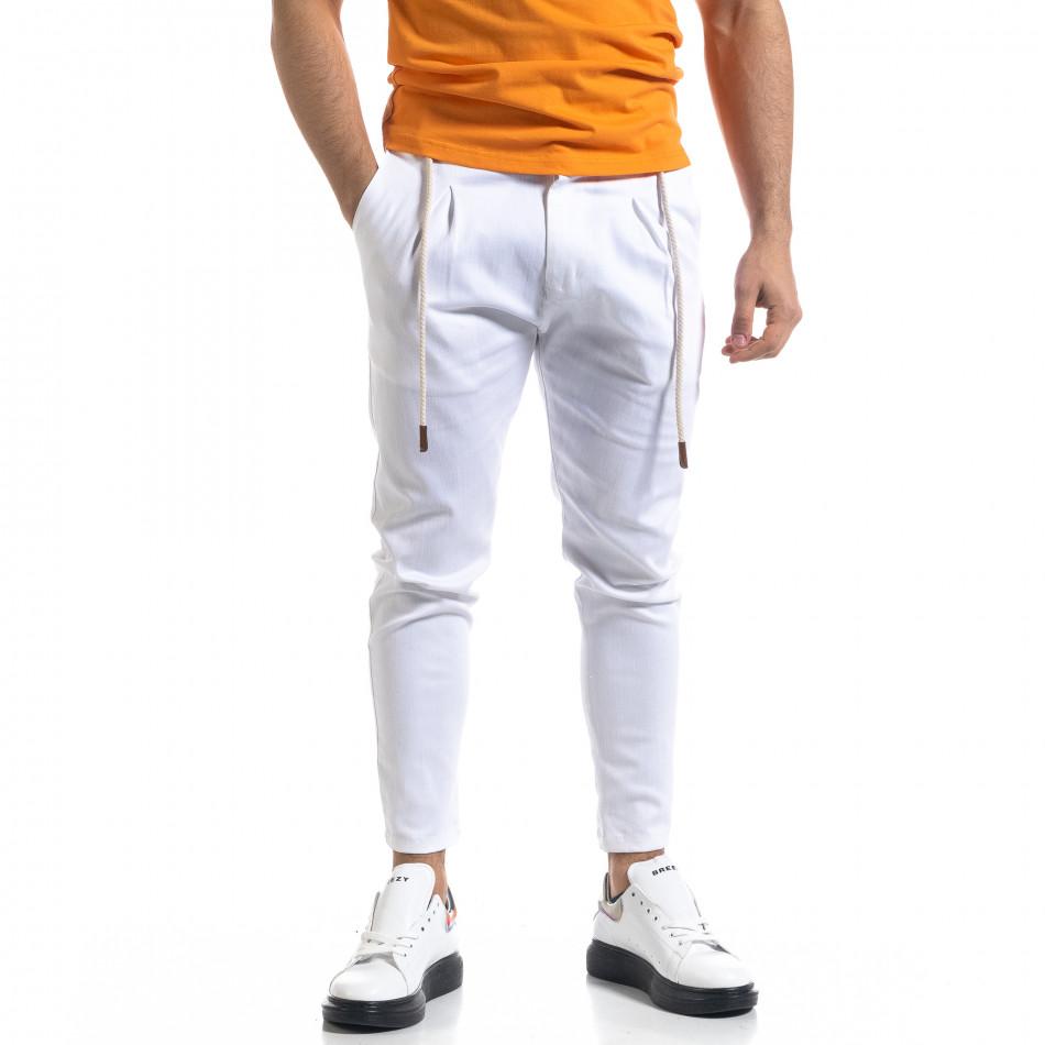 Мъжки бял панталон с ластик на кръста tr110320-121