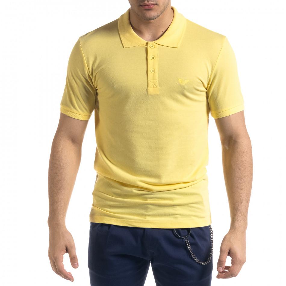 Мъжка тениска пике polo shirt в жълто tr110320-17