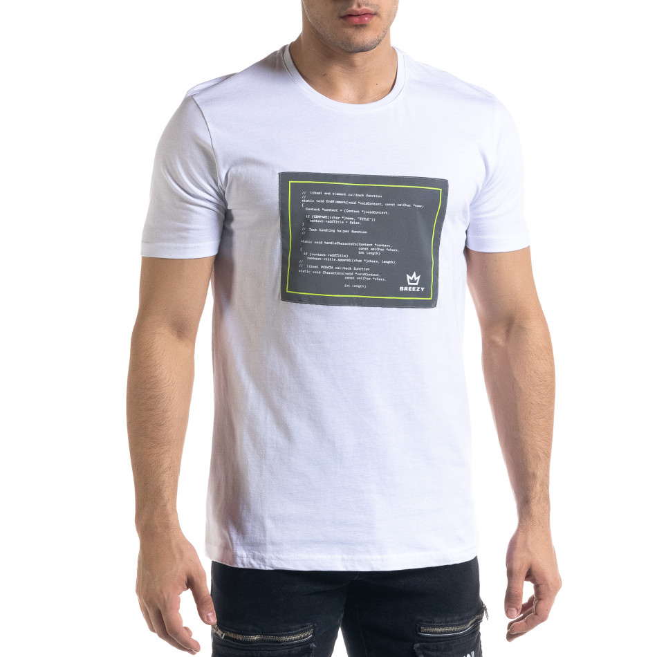 Мъжка бяла тениска с апликация tr110320-35