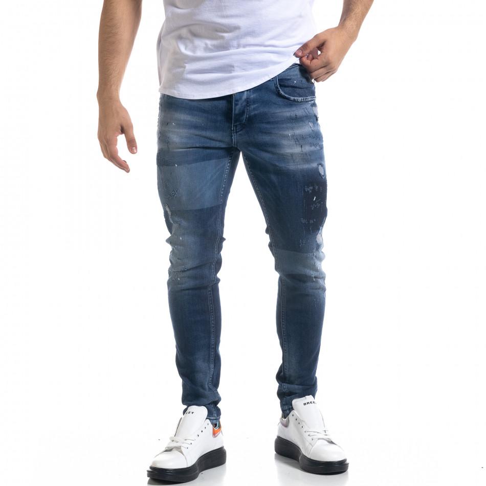 Мъжки сини дънки Slim fit с избелен ефект tr110320-111