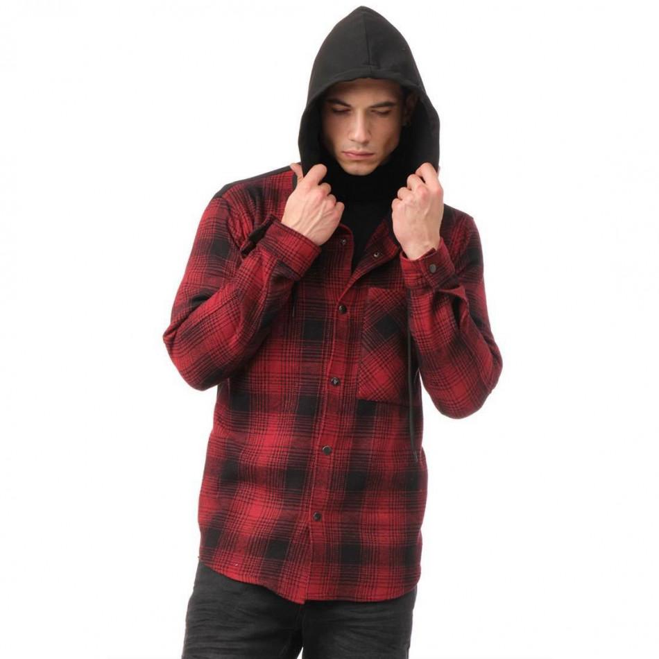 Мъжки кариран суичър-риза с качулка tr131120-7