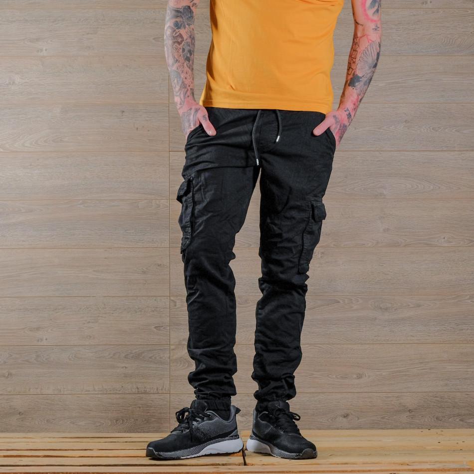 Мъжки черен карго панталон с връзки на кръста tr170320-5