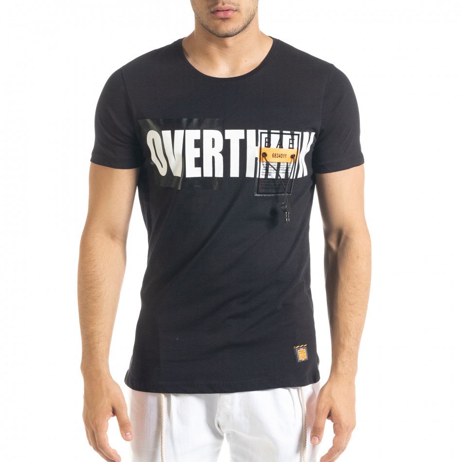 Черна мъжка тениска с прозрачен джоб tr080520-31