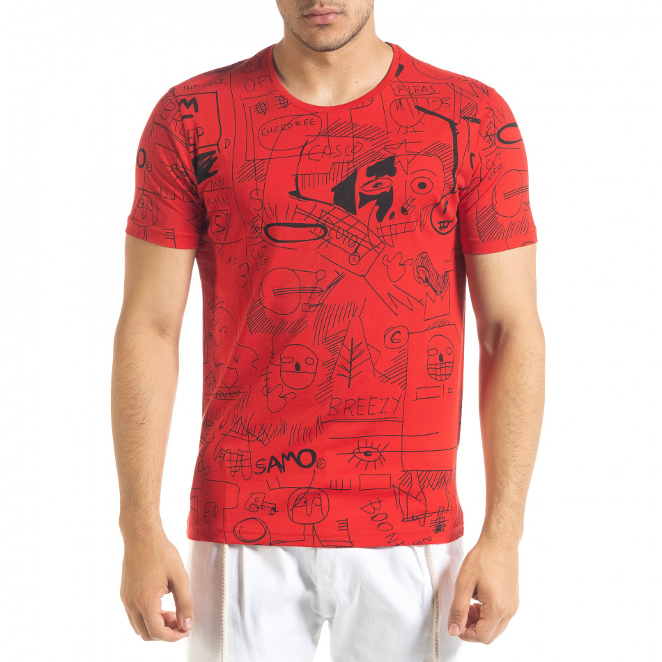 Мъжка червена тениска с принт Naivety tr080520-15