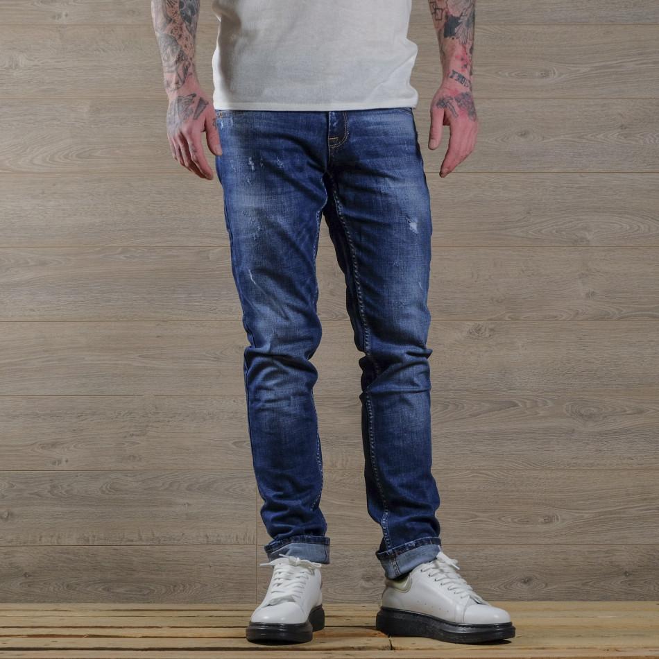 Slim fit мъжки сини дънки с леки прокъсвания tr030420-1