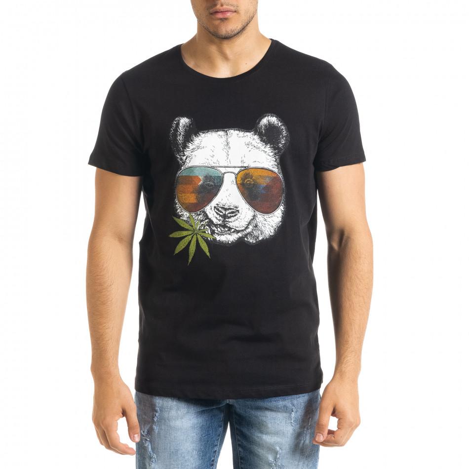 Мъжка тениска Panda Grass в черно tr080520-24
