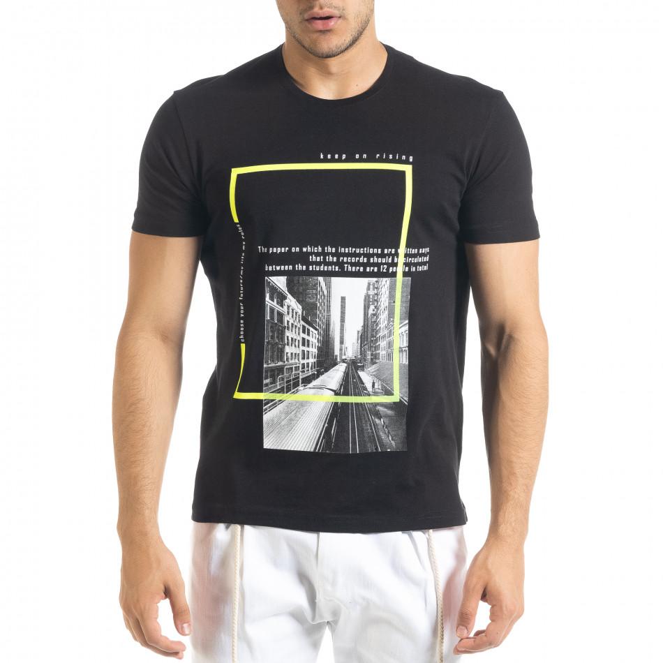 Мъжка черна тениска Keep on Rising tr080520-7