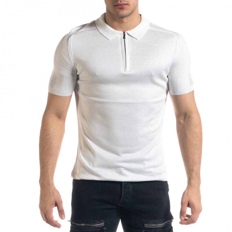 Slim fit мъжка плетена блуза в бяло tr110320-56