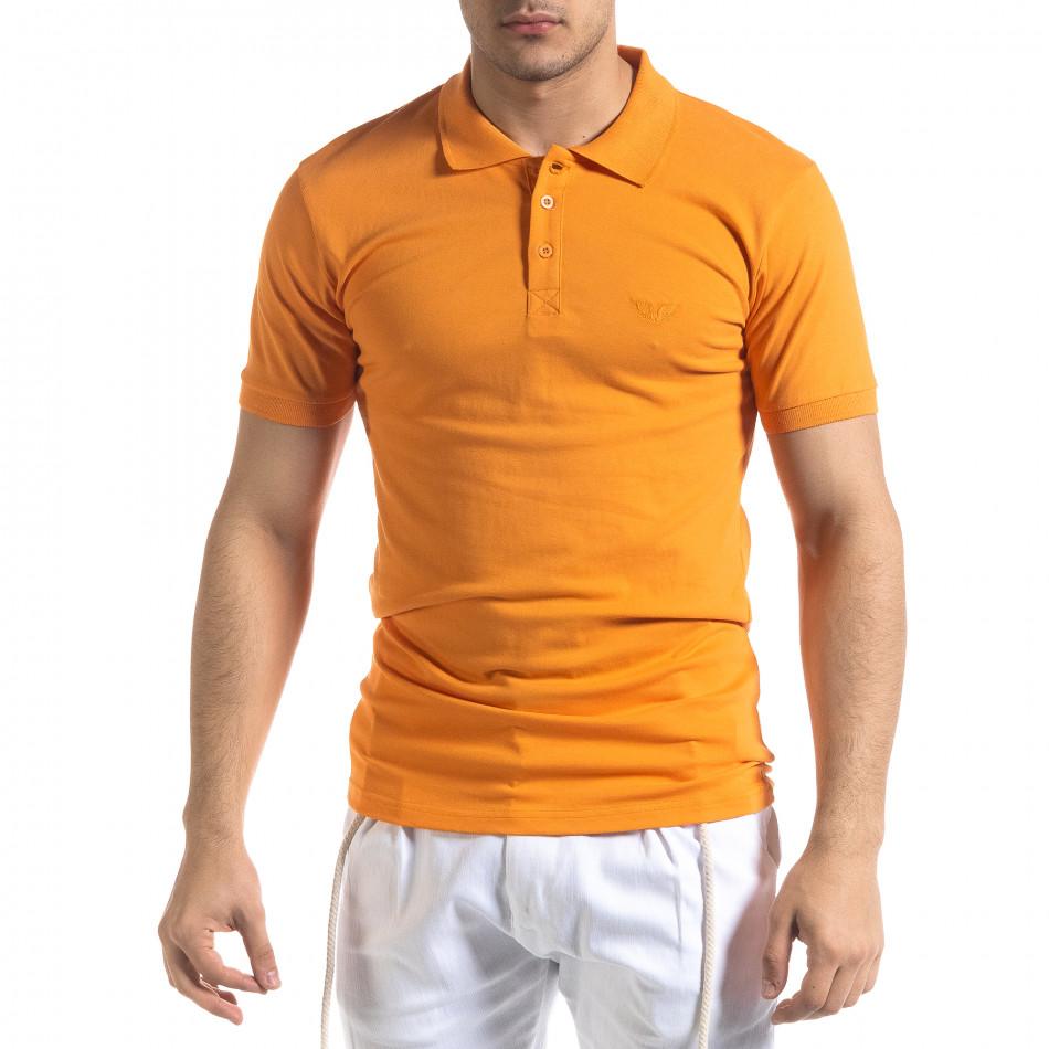Мъжка тениска пике Polo shirt в оранжево tr110320-15