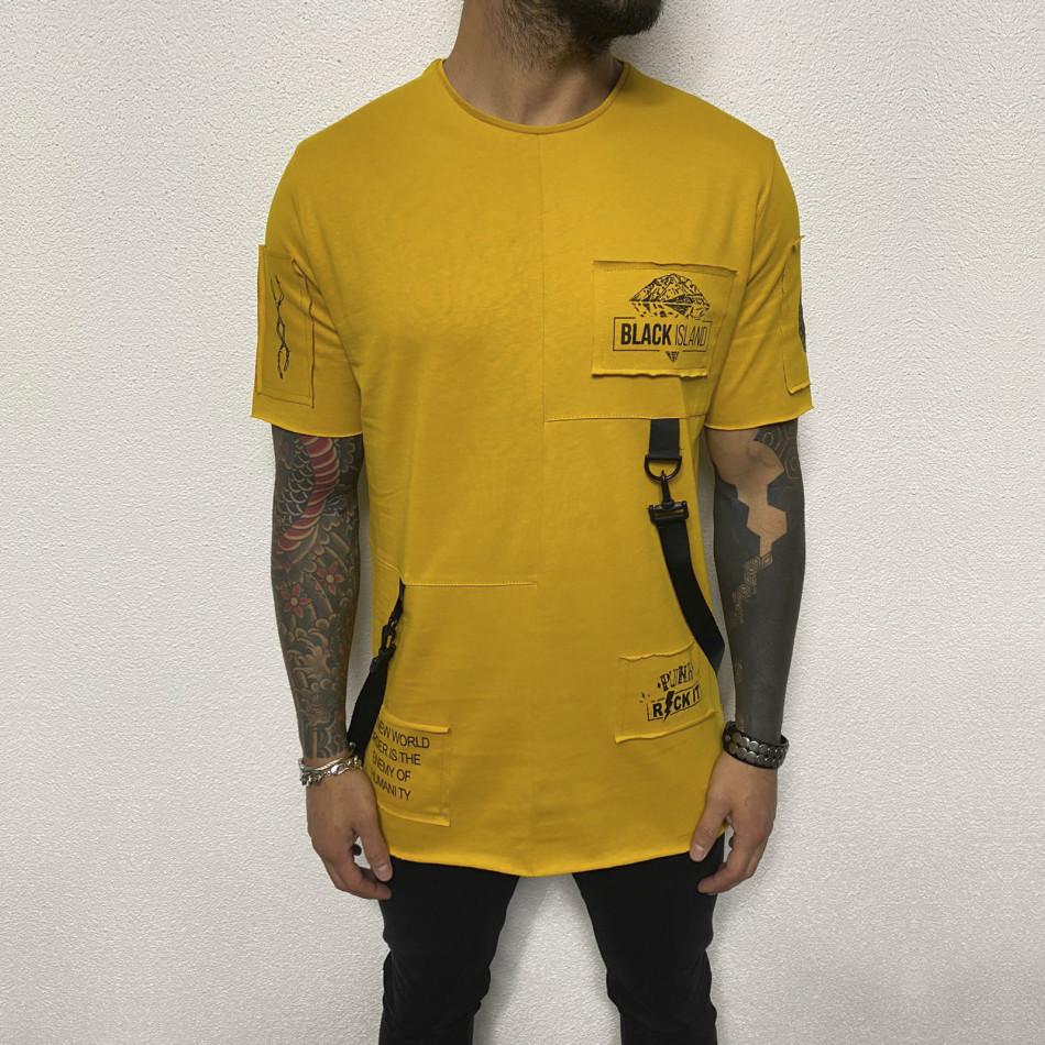 Удължена жълта тениска с акценти tr110320-82