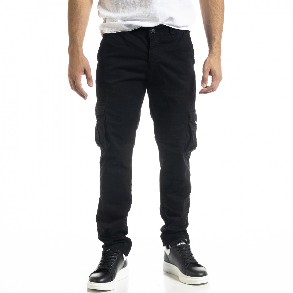 Черен мъжки панталон Cargo с прави крачоли tr240420-27