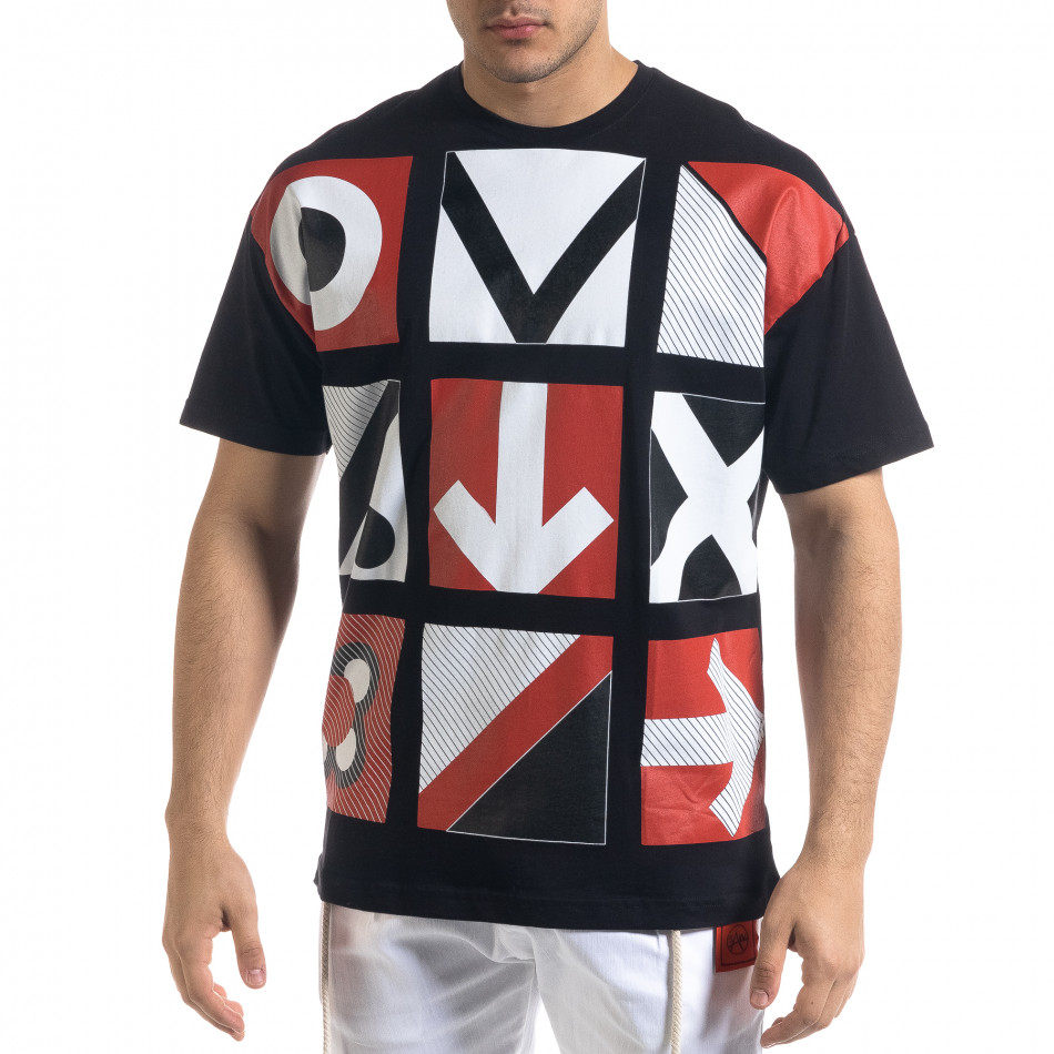 Мъжка черна тениска Signs Oversize tr110320-9