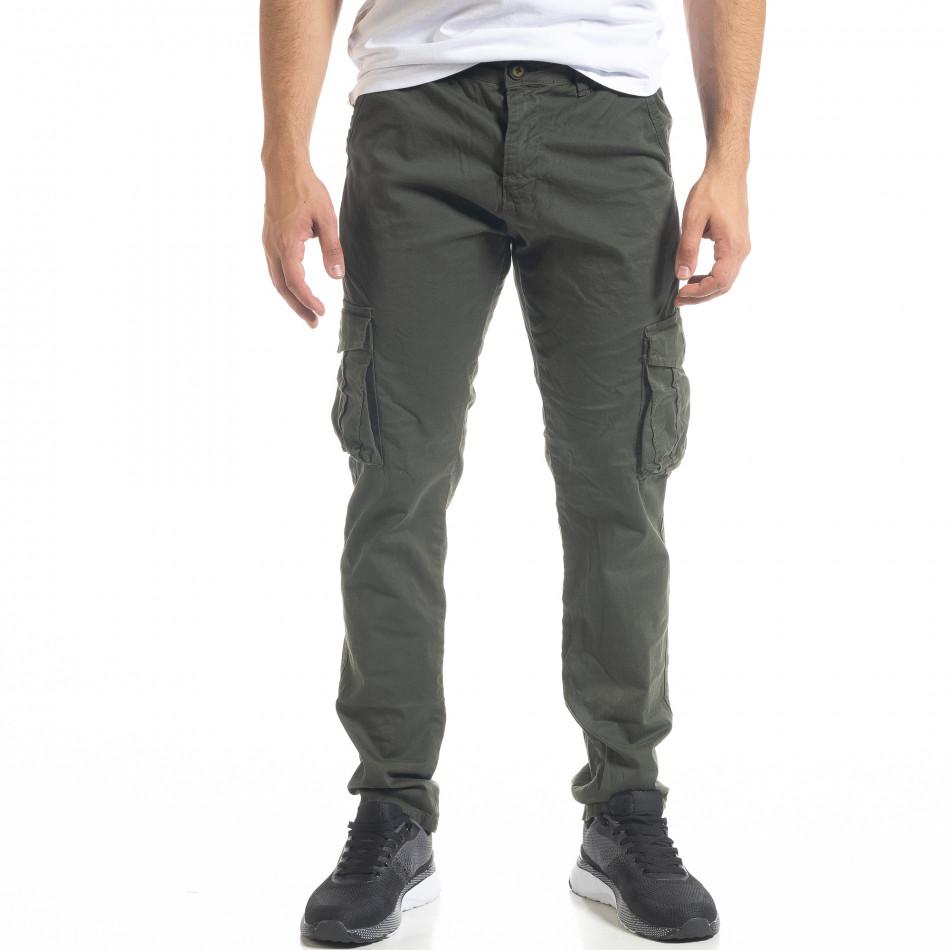 Зелен мъжки панталон Cargo с прави крачоли tr240420-28