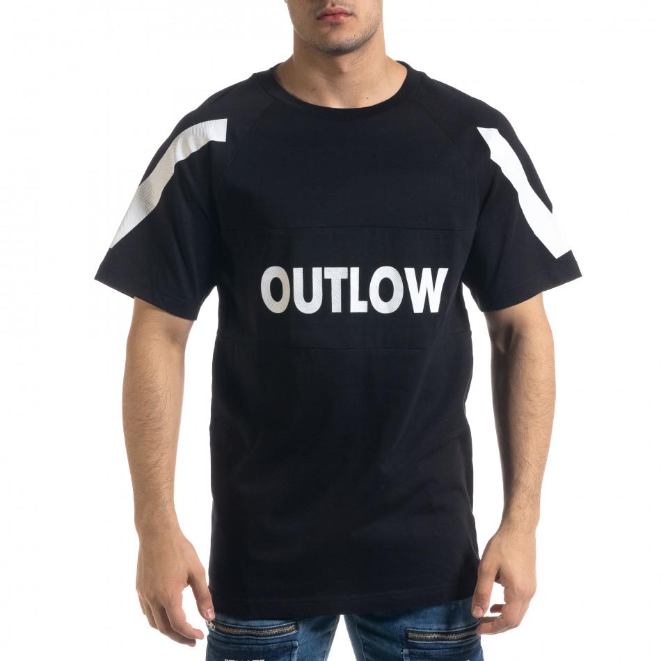 Мъжка черна тениска Outlow tr110320-78