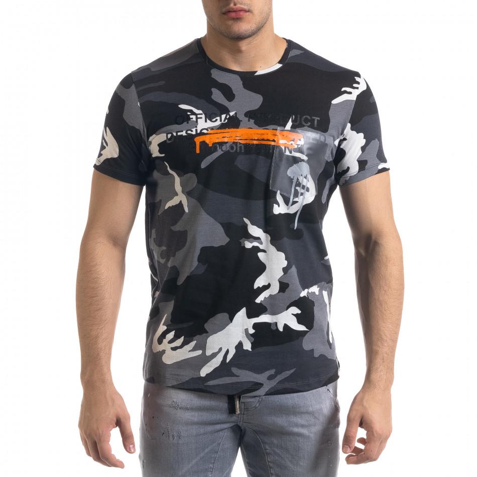 Мъжка камуфлажна тениска с прозрачен джоб tr110320-32