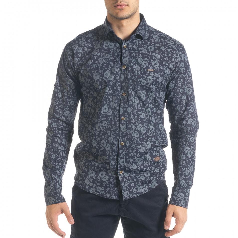Slim fit синя мъжка риза флорален десен tr240420-36