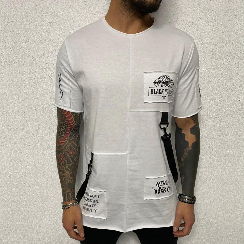 Удължена бяла тениска с акценти tr110320-83