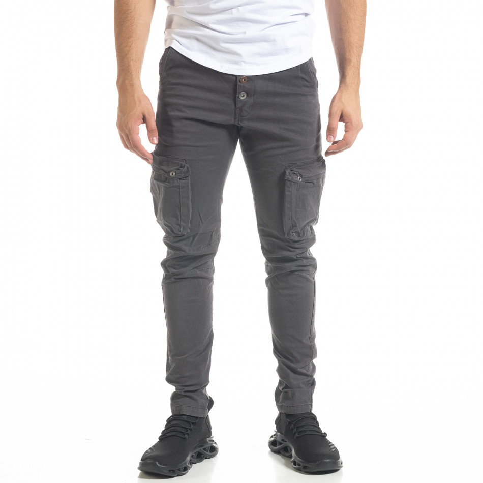 Мъжки карго панталон с прави крачоли в сиво tr240420-26