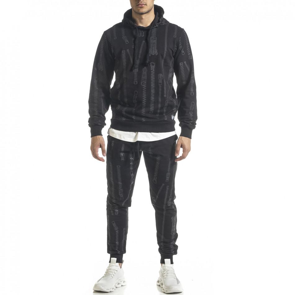 Мъжки памучен черен анцуг с качулка и принт tr240420-18