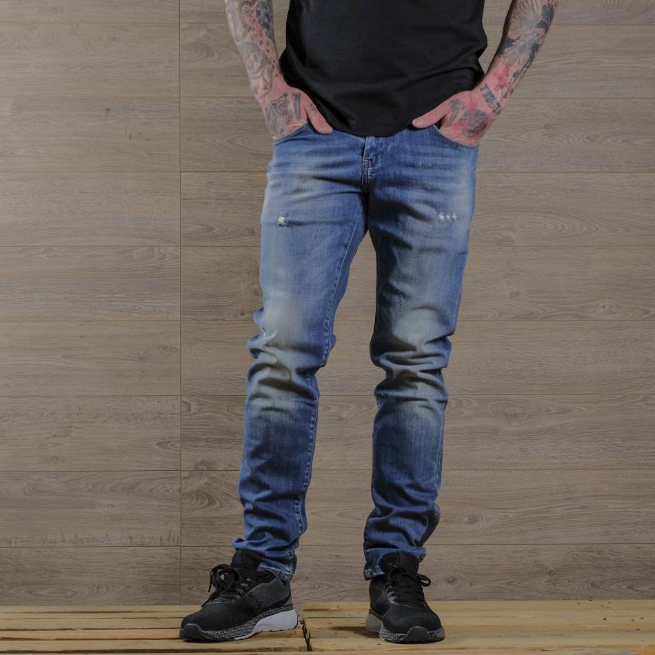 Washed Slim fit мъжки сини дънки tr030420-5