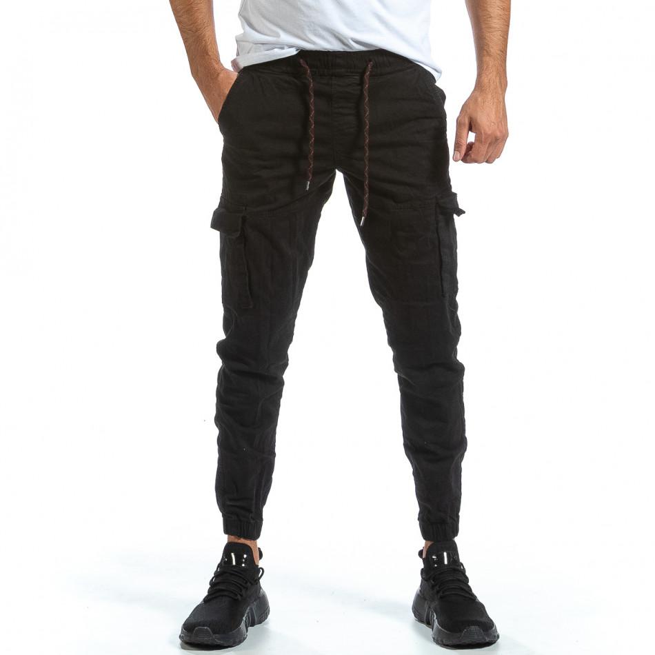 Черен Cargo Jogger панталон с ластик на кръста tr070921-16