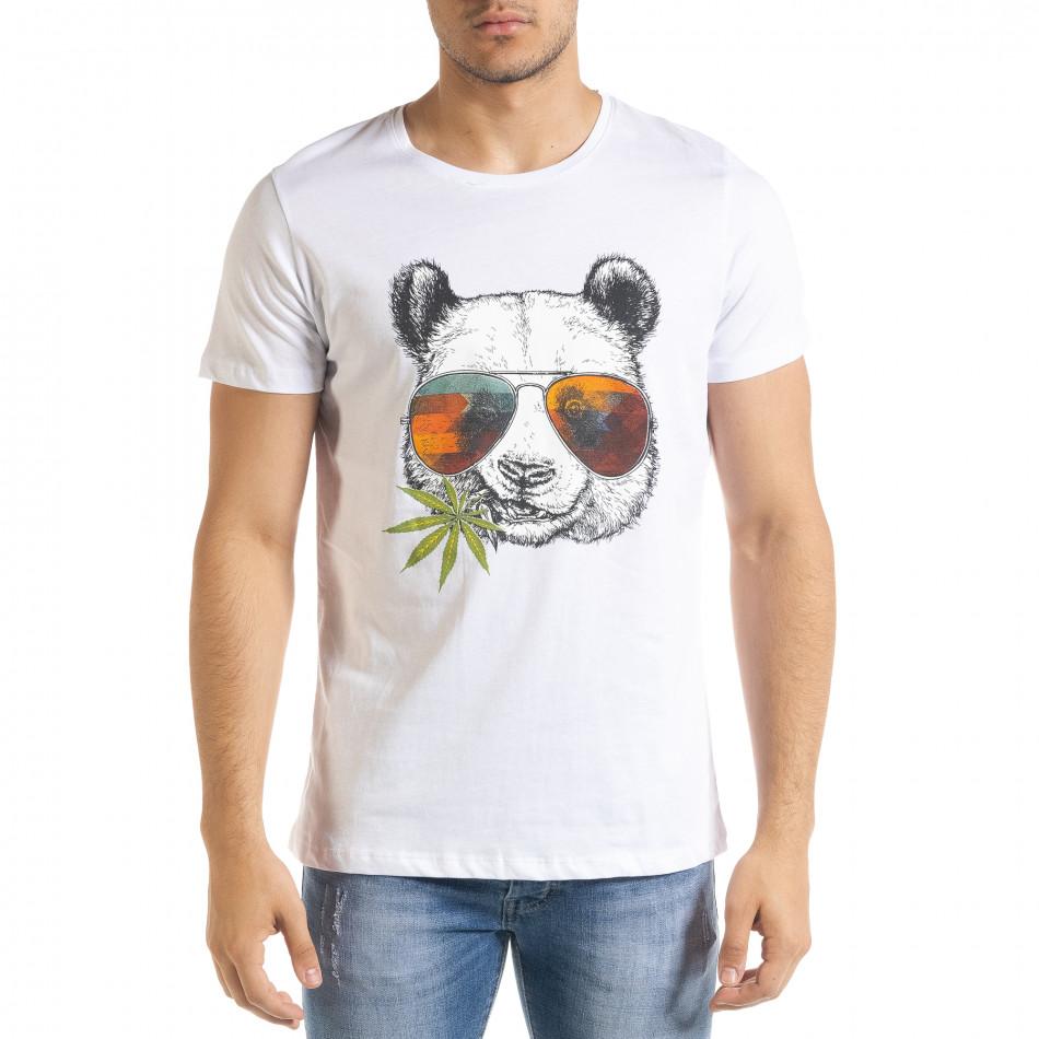 Мъжка тениска Panda Grass в бяло tr080520-25