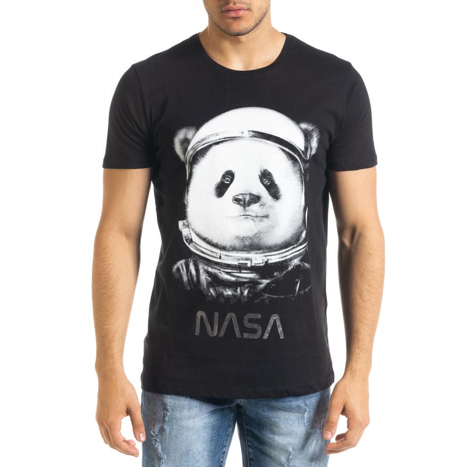 Мъжка тениска Panda NASA в черно tr080520-22