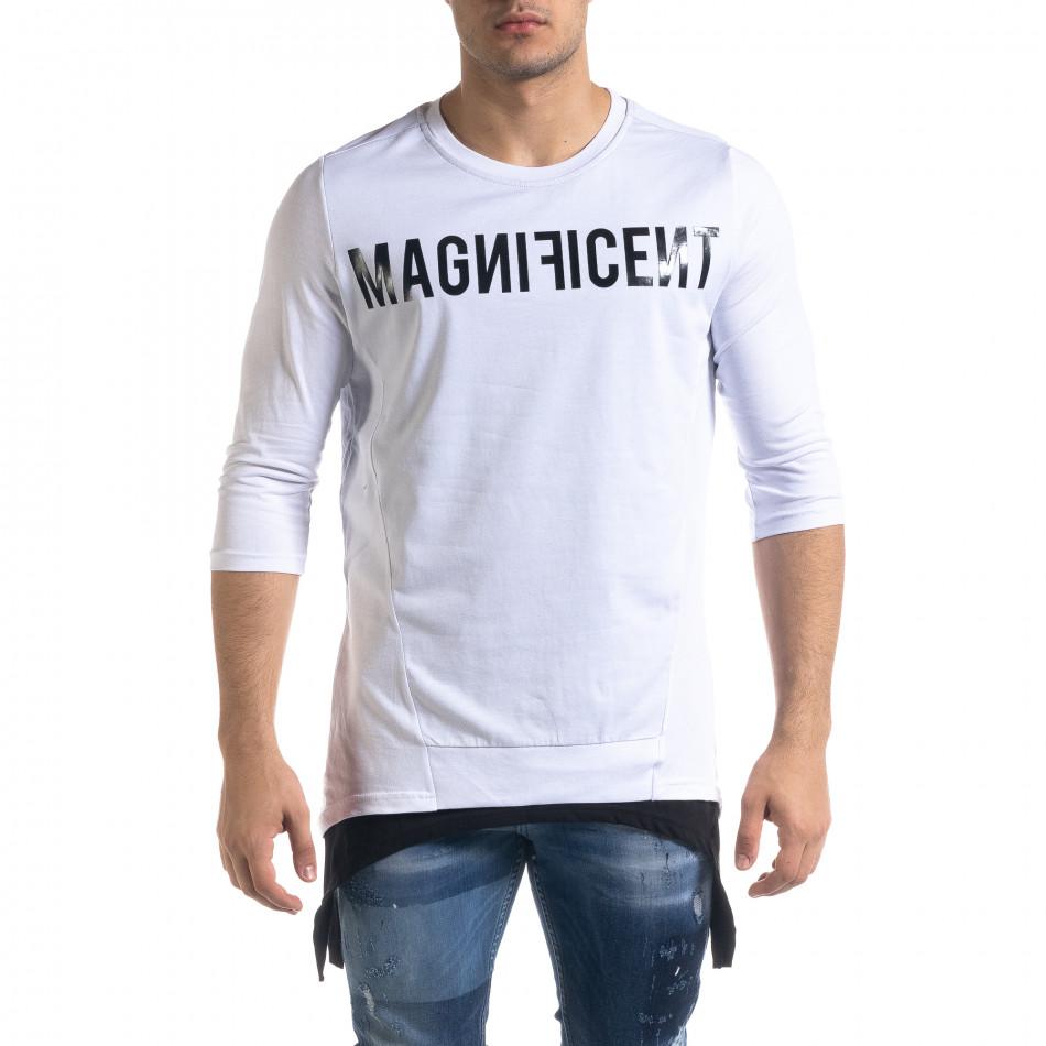 Мъжка бяла тениска с удължени краища tr110320-61