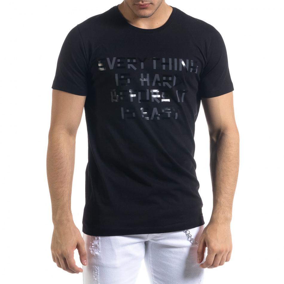 Мъжка черна тениска с принт tr110320-71
