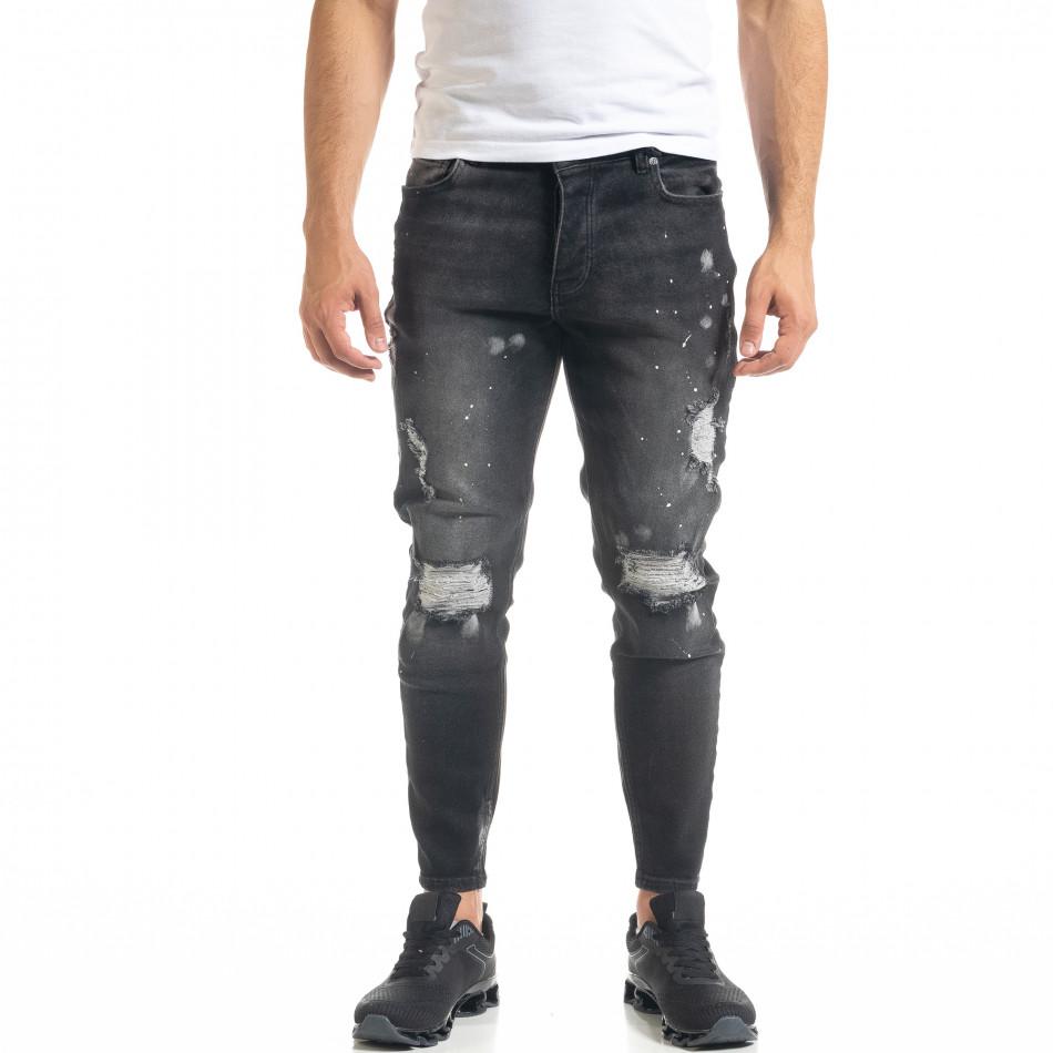 Slim fit мъжки черни дънки Destroyed с кръпки  tr050620-2