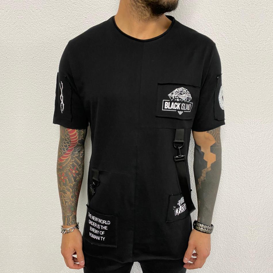 Удължена черна тениска с акценти tr110320-84
