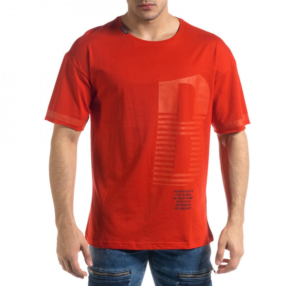 Червена мъжка тениска с принт tr110320-37