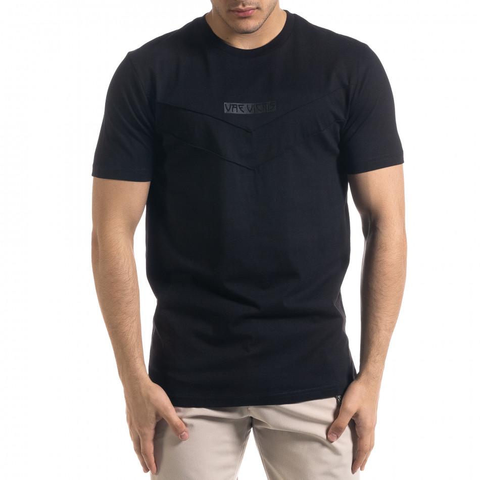Мъжка черна тенска V-образна платка tr110320-76