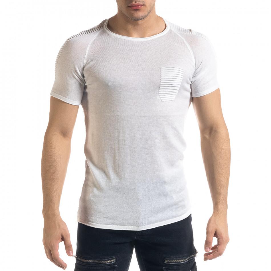 Slim fit бяла мъжка плетена блуза Biker tr110320-20
