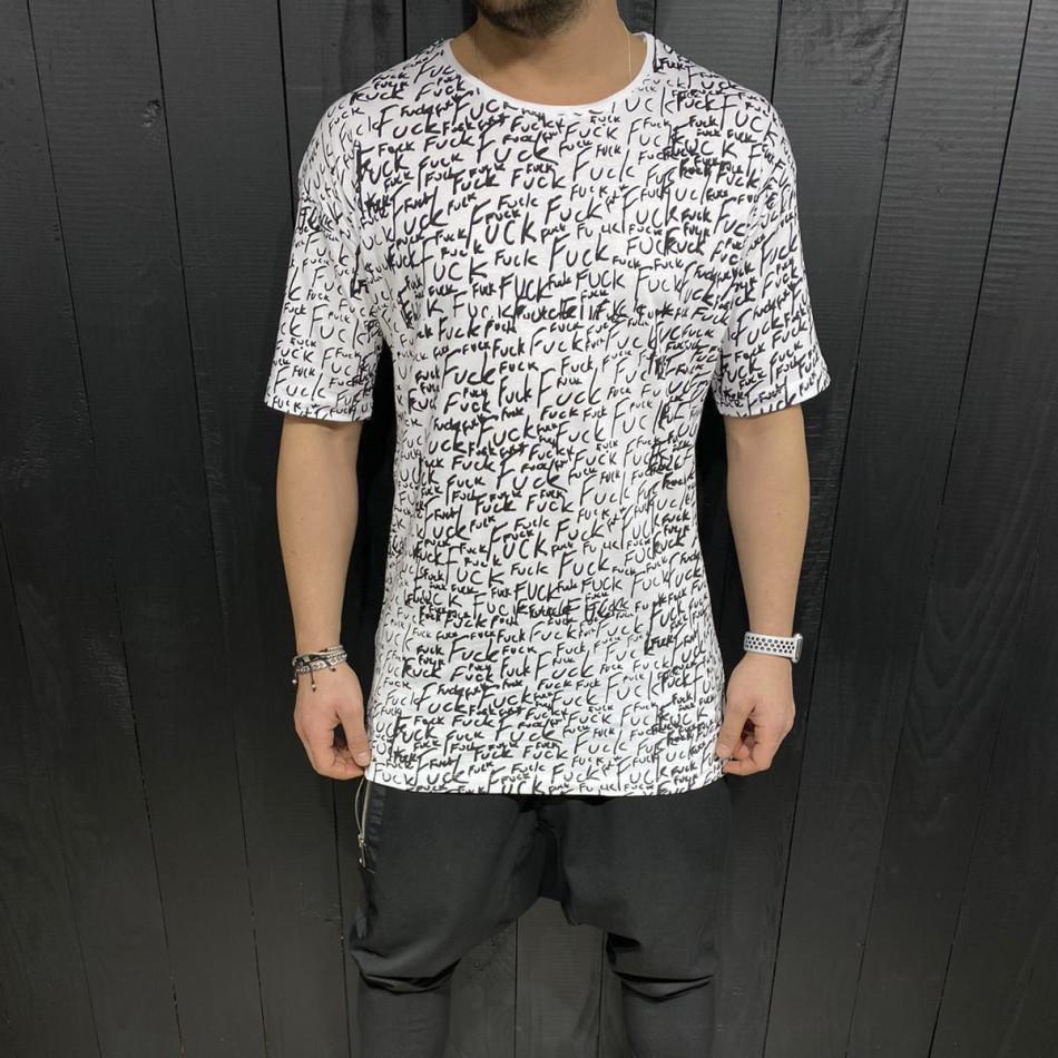 Мъжка бяла тениска с принт tr110320-88